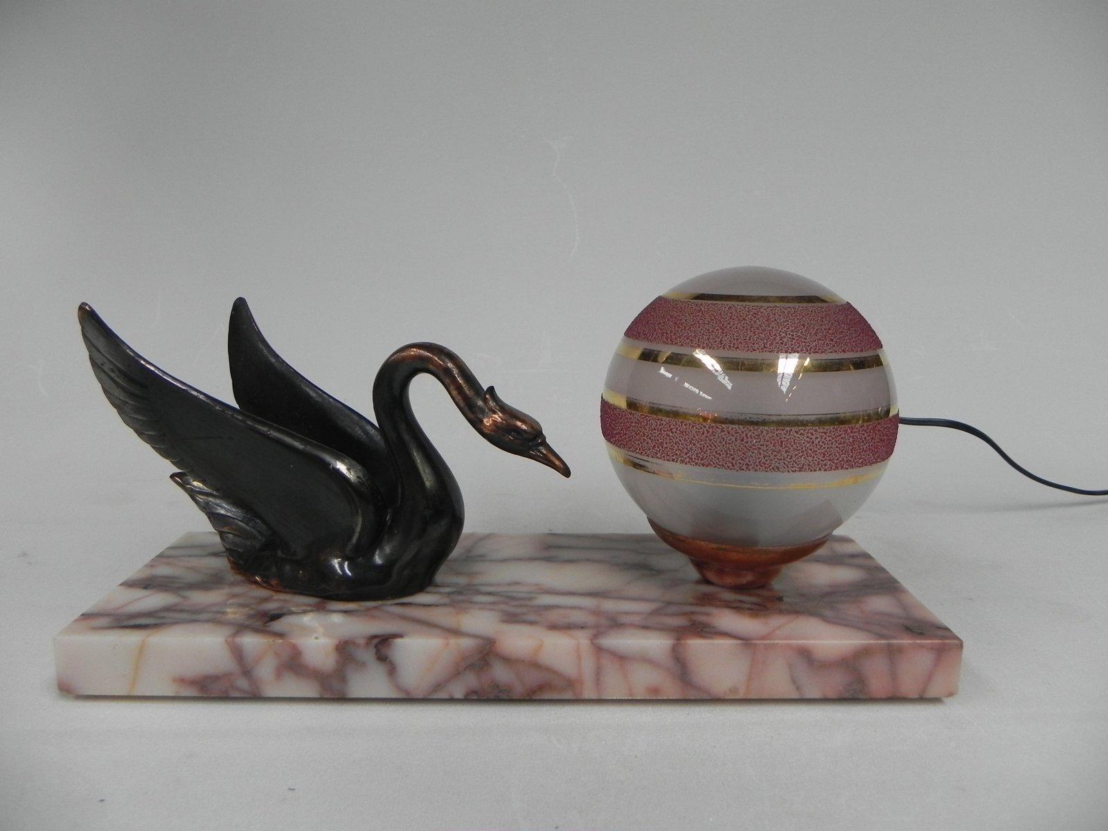 Art Deco Tischlampe aus Glas & Marmor, 1930er