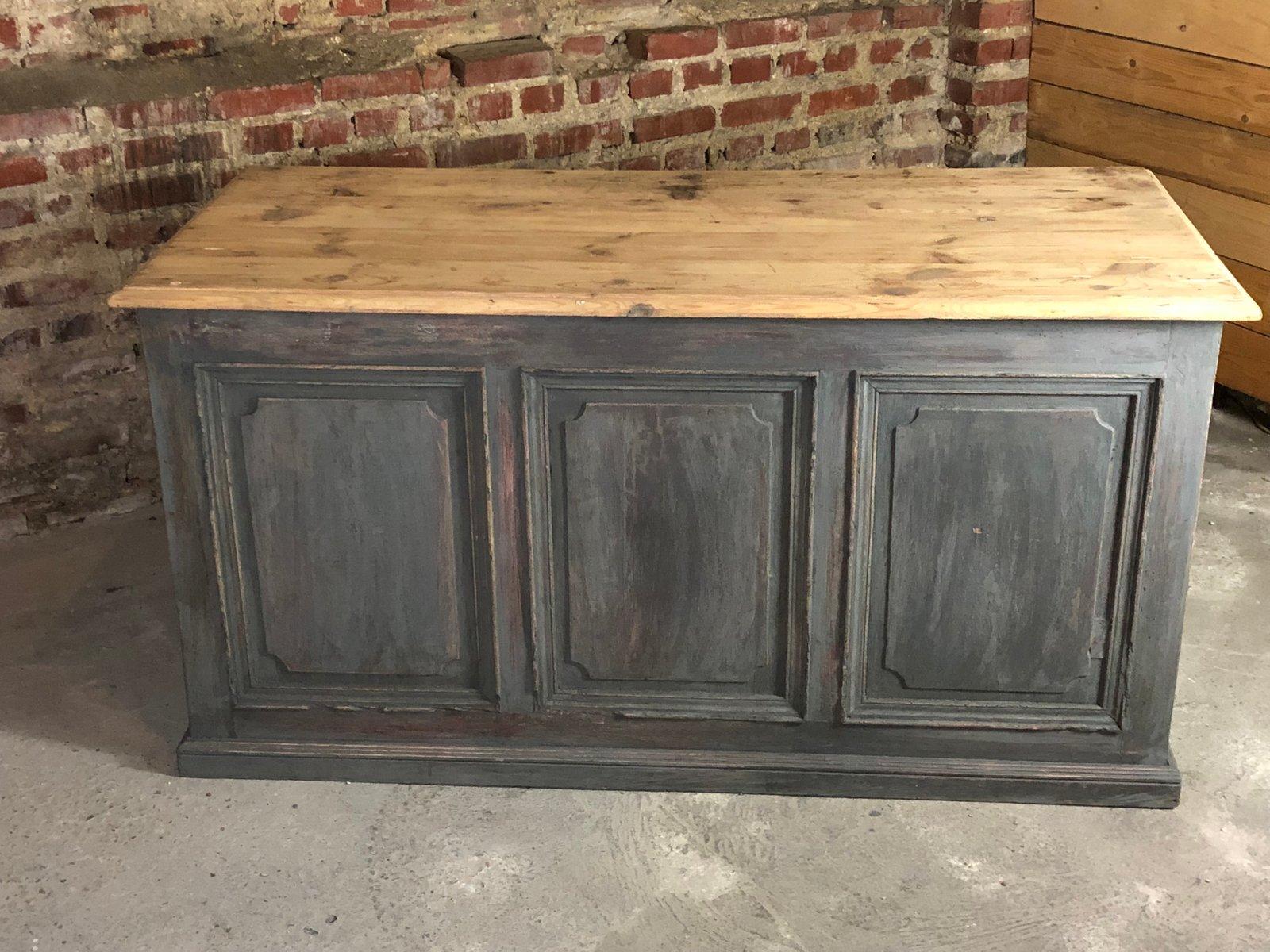 Antiker blaugrauer Tresen   Küche und Esszimmer > Bar-Möbel > Tresen und Theken   Rustikal - Grau   Holz
