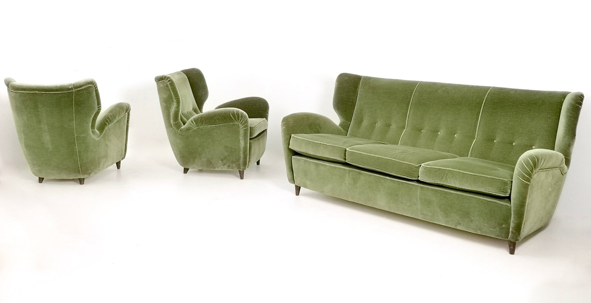 Italian Olive Green Velvet Lounge Chairs, 1950s, Set Of 2 For Sale At Pamono