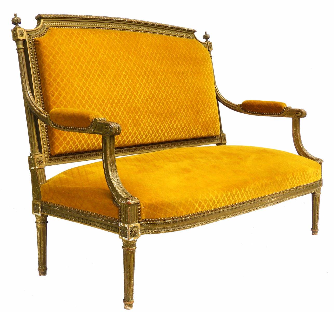 antikes franz sisches gesso sofa mit vergoldetem holzgestell bei pamono kaufen. Black Bedroom Furniture Sets. Home Design Ideas