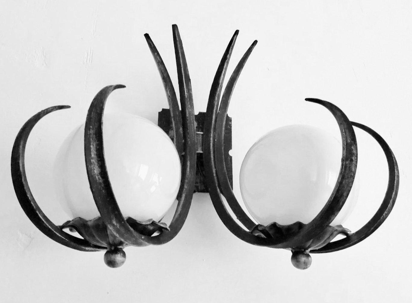 Brutalistische Wandlampen aus Opalglas, 1960er, 2er Set