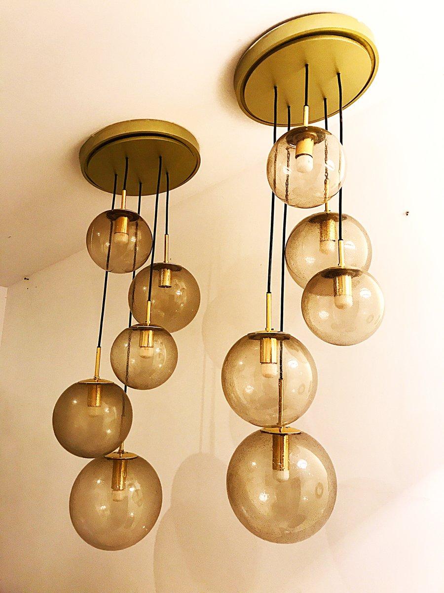 Goldene Deckenlampen mit 5 Lichtkugeln von Limburg, 1970er, 2er Set