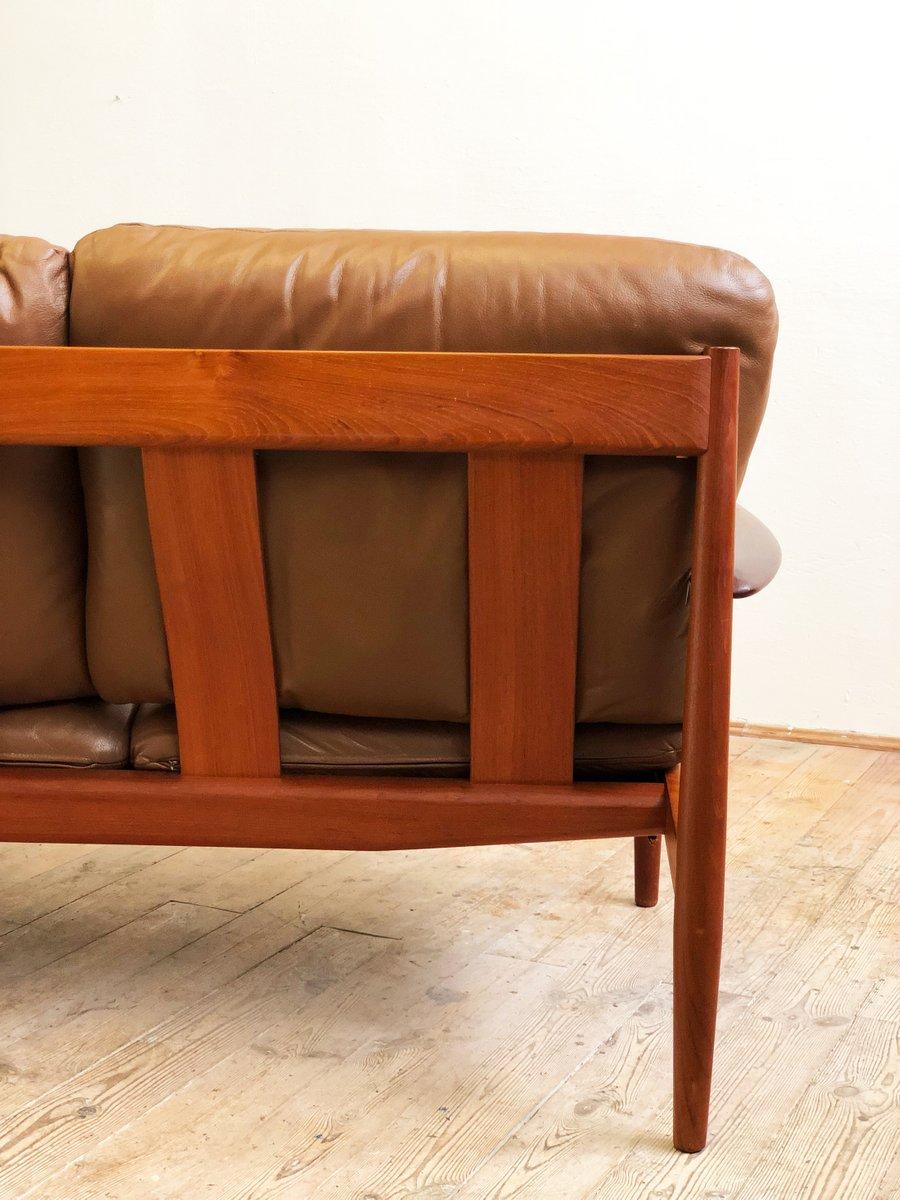 Mid-Century Modern Danish Teak Leather Sofa By Grete Jalk