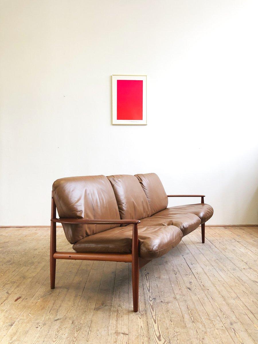 Mid-Century Modern Danish Teak Leather Sofa by Grete Jalk ...