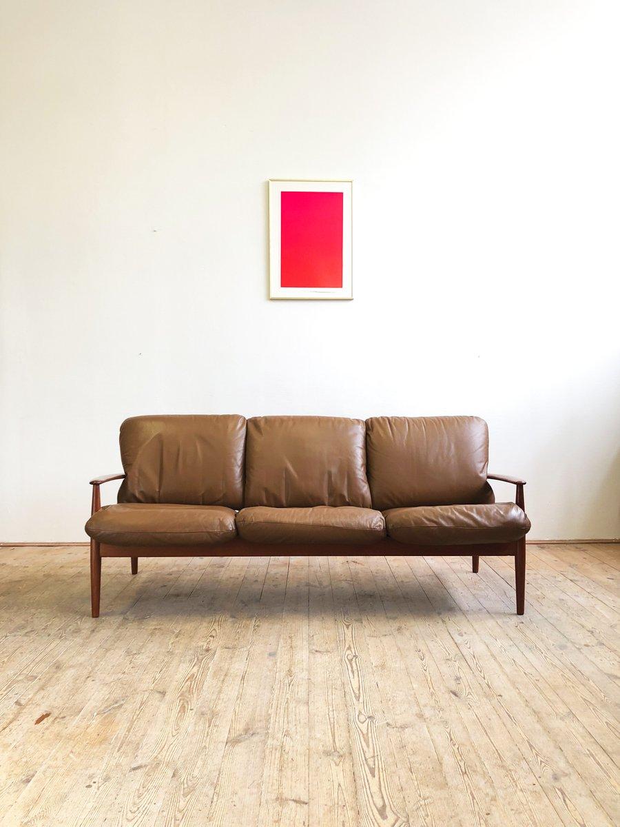 Mid Century Modern Danish Teak Leather Sofa By Grete Jalk