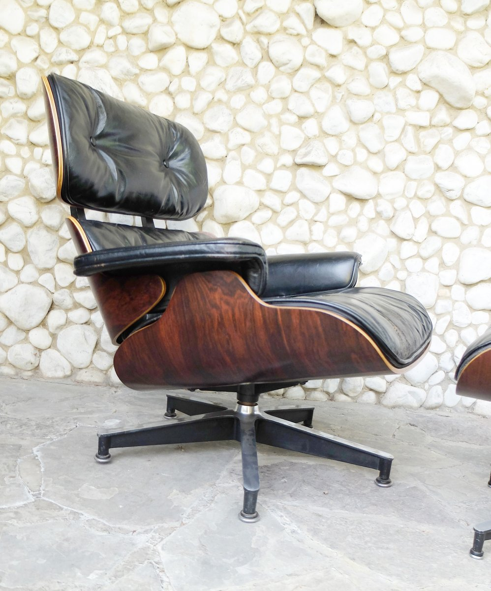 vintage 670 lounge chair and 671 ottoman by charles ray eames for herman miller for sale at pamono. Black Bedroom Furniture Sets. Home Design Ideas
