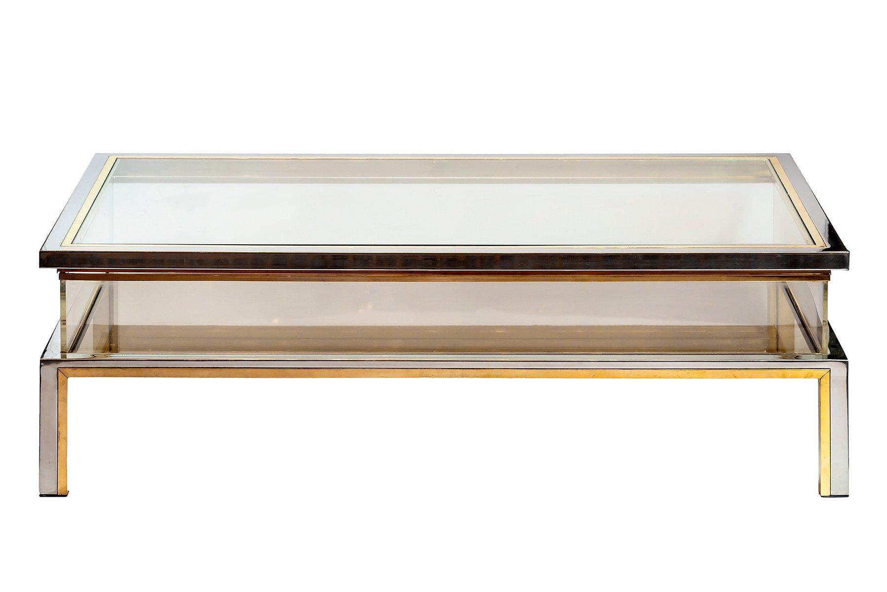 Mid century brass glass coffee table by romeo rega
