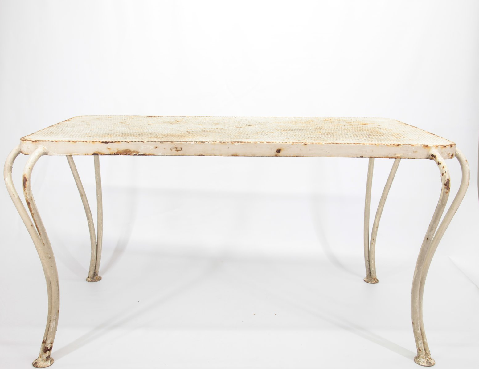 Garden Table in White-Painted Iron, 1950s