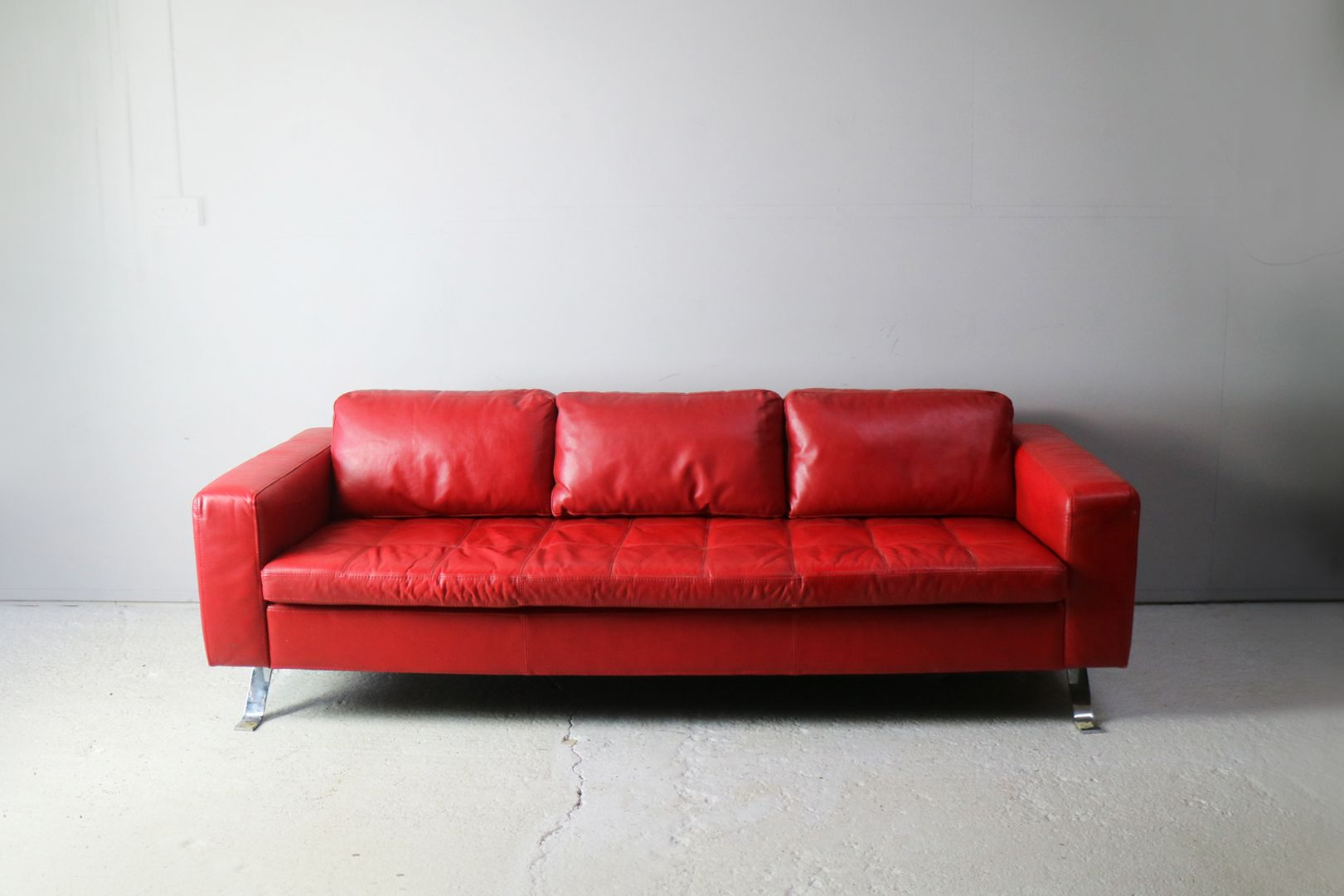 Large Danish Red Leather Sofa 1980s
