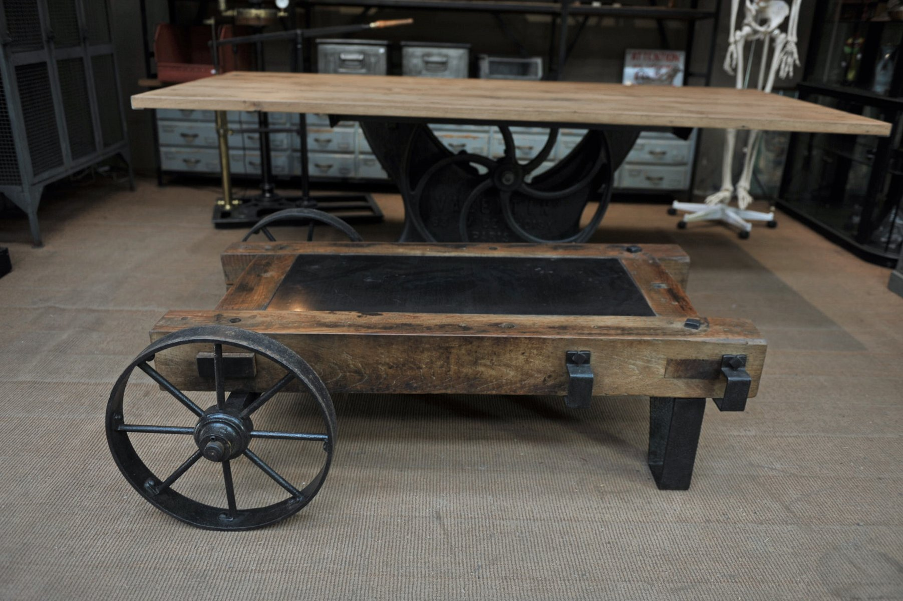 Industrial Metal Amp Wood Coffee Table Wagon 1940s For Sale