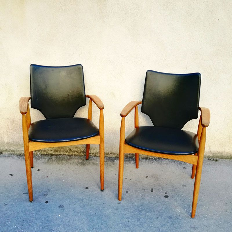 Vintage French Scandinavian Armchairs, 1960s, Set of 2