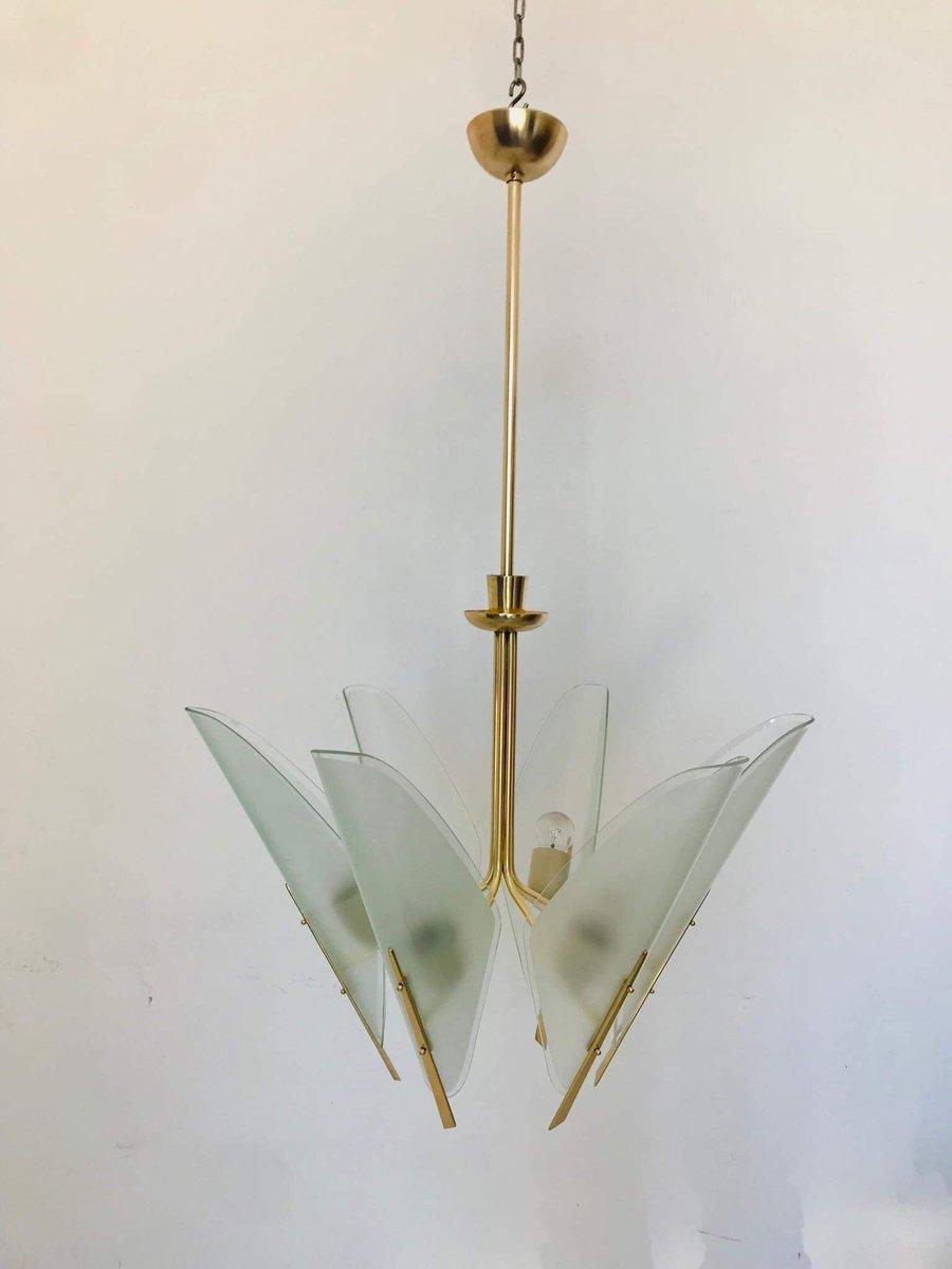 Italienischer 6-Licht Kronleuchter aus Messing, 1950er