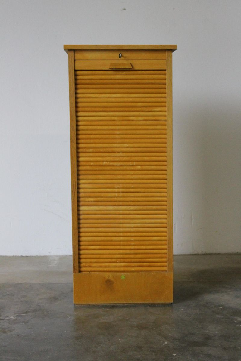 Danish Oak Tambour Filing Cabinet from BS Mobler, 1950s