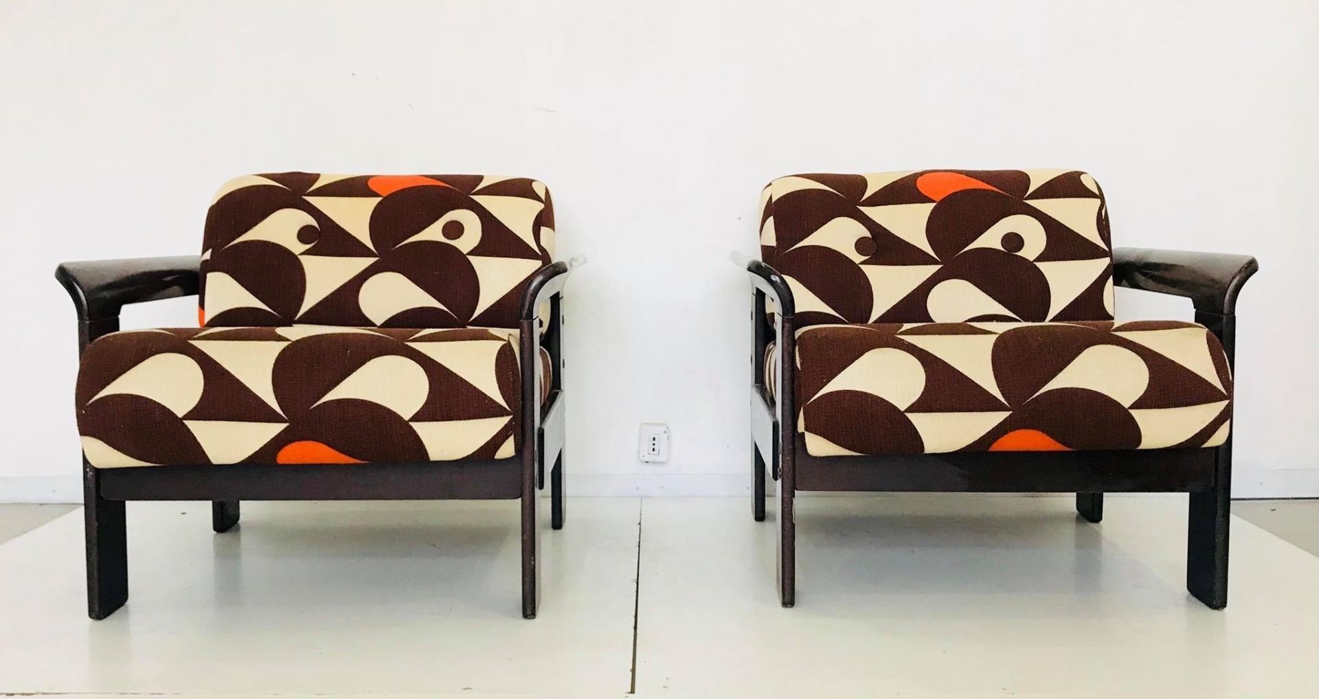 Sessel mit Bezug mit Vogel-Motiv von Silvano Passi, 1970er, 2er Set