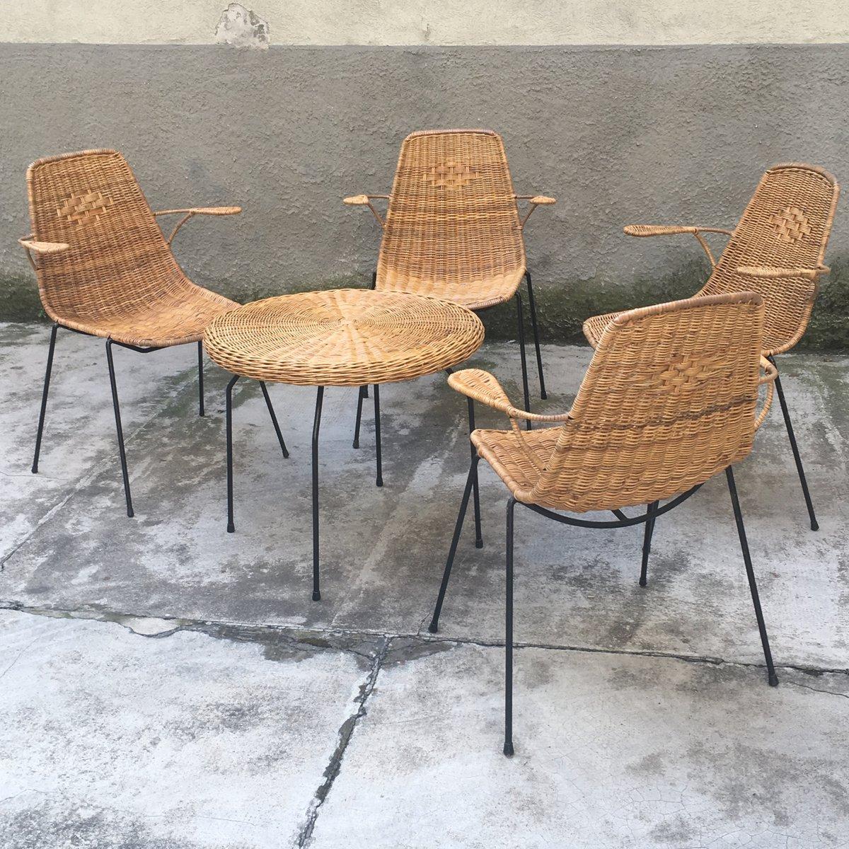 Vintage Rattan Metal Outdoor Lounge Set For Sale At Pamono