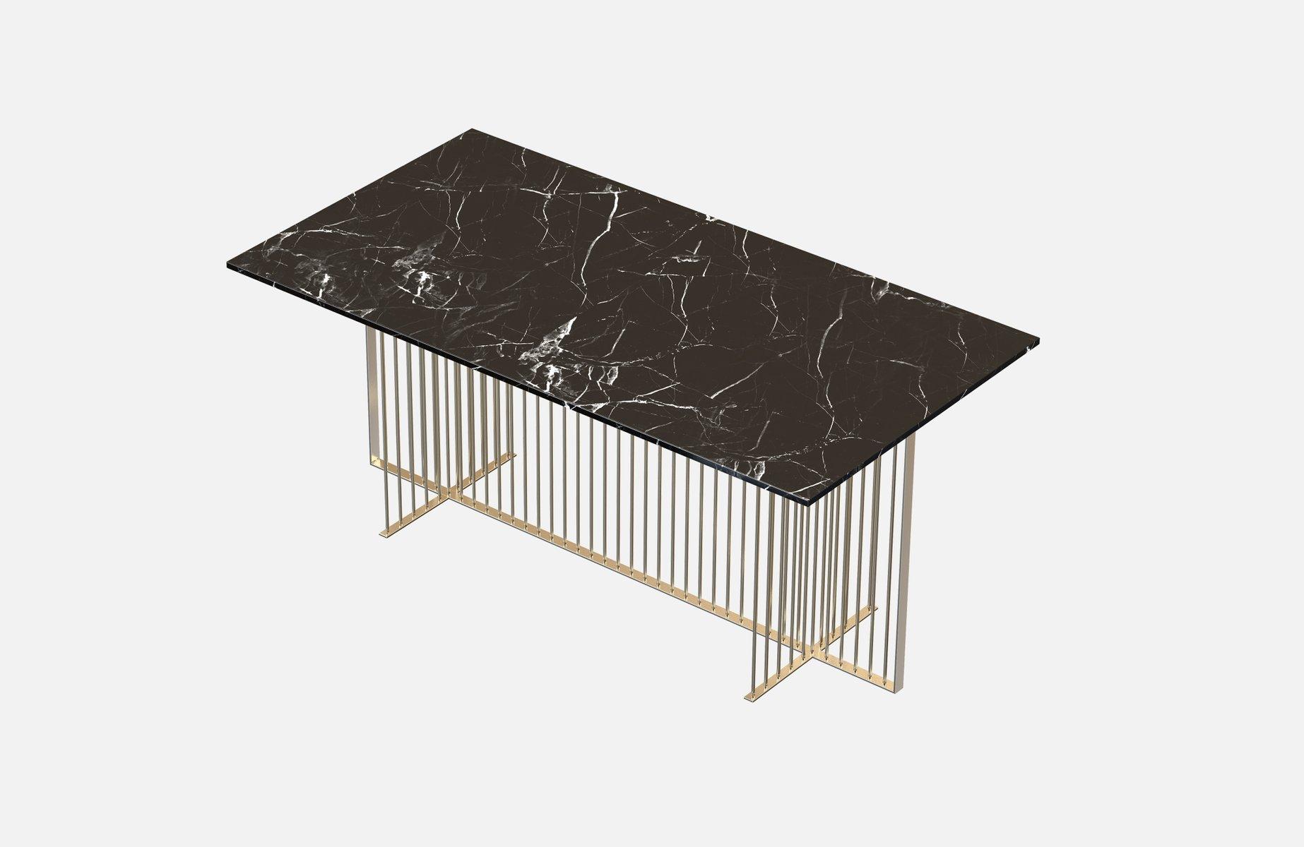 Vermessingter MEISTER Esstisch mit schwarzer Tischplatte aus Marmor vo...