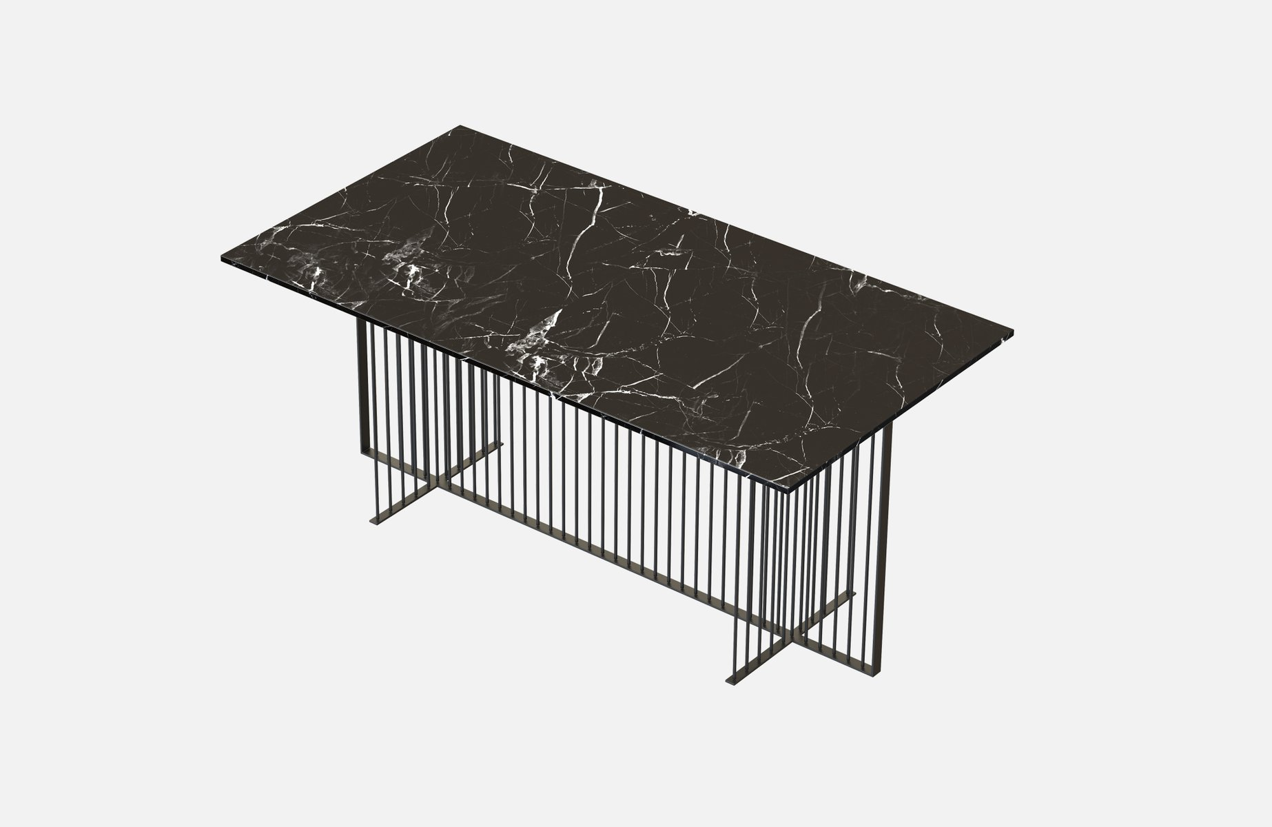 MEISTER Dining Table in Black with Black Marble Top by Alex Baser for ...