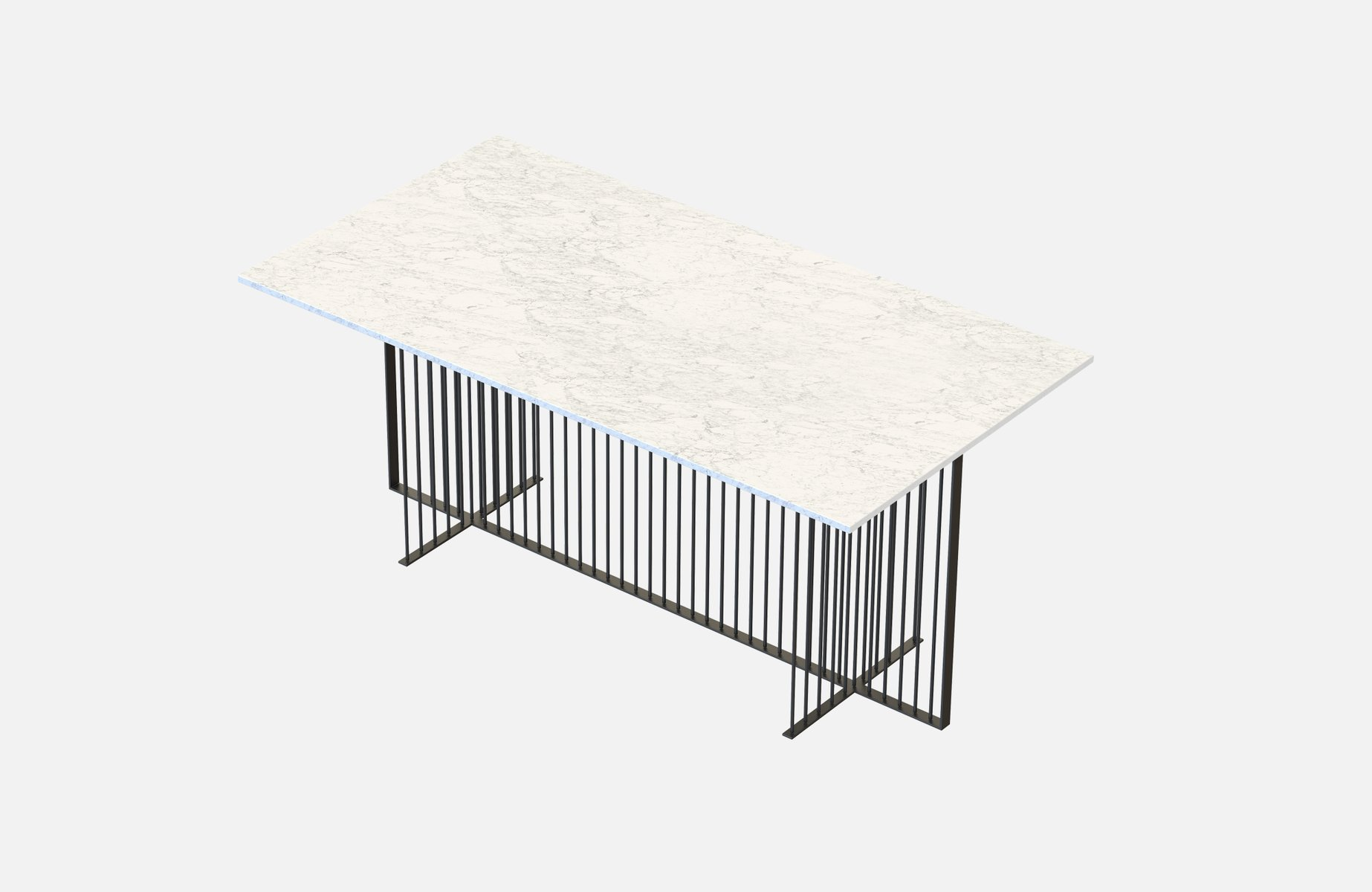MEISTER Large Dining Table in Black with White Marble Top by Alex Base...