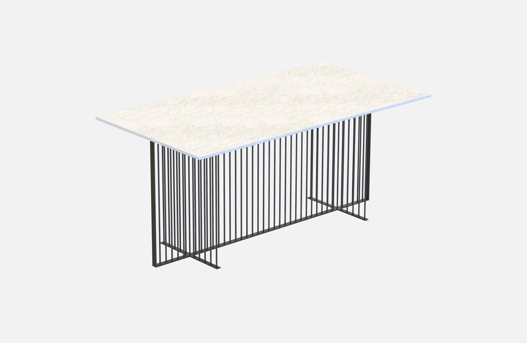 gro er schwarzer meister esstisch mit wei er tischplatte aus marmor von alex baser f r miist bei. Black Bedroom Furniture Sets. Home Design Ideas
