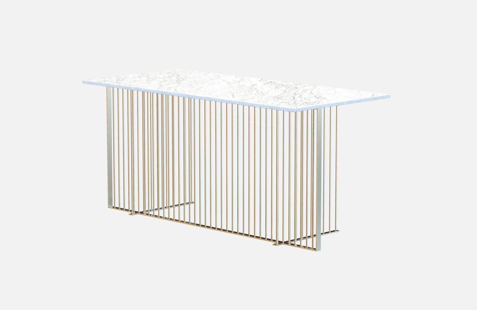 Bureau meister en plaqué laiton avec plateau en marbre blanc par
