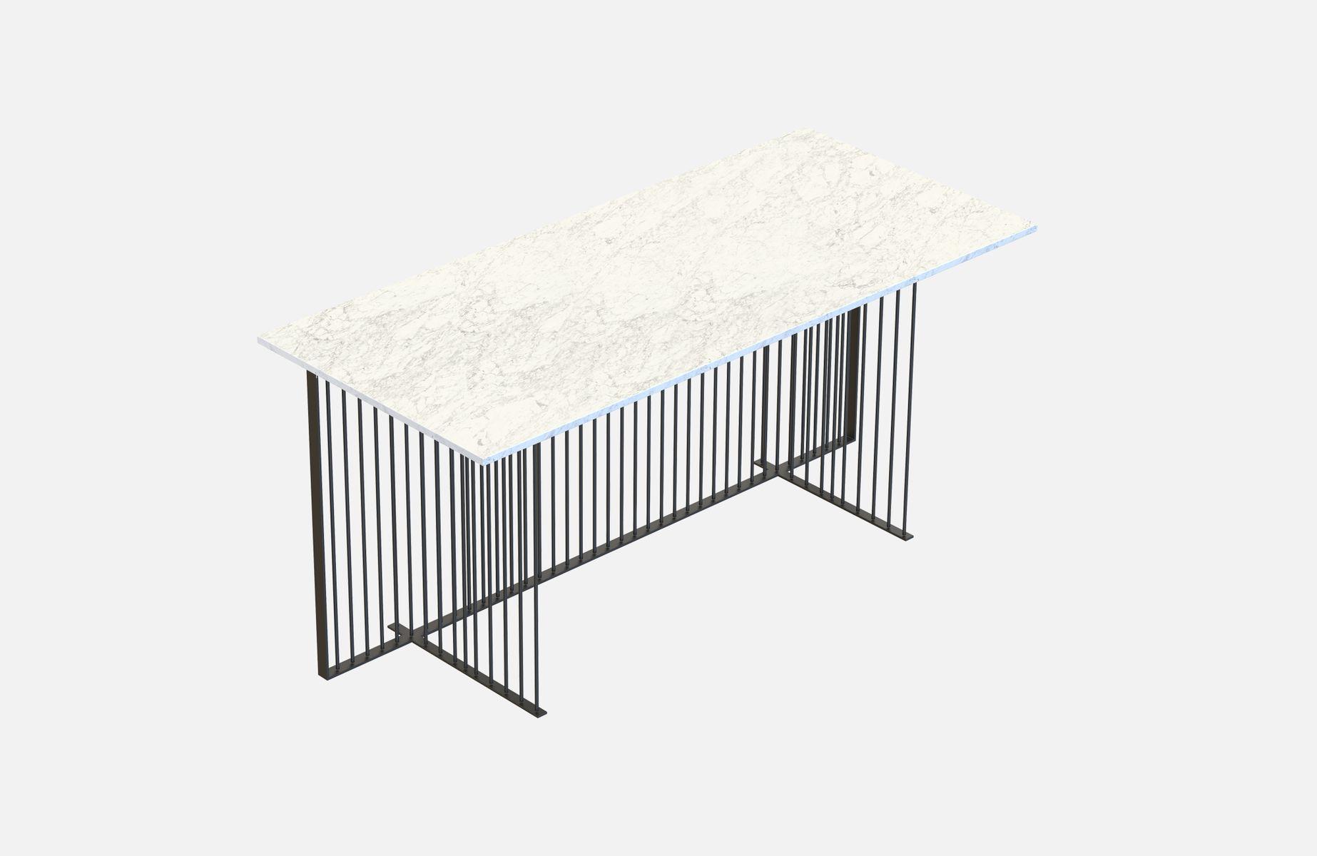 Bureau meister noir avec plateau en marbre blanc par alex baser