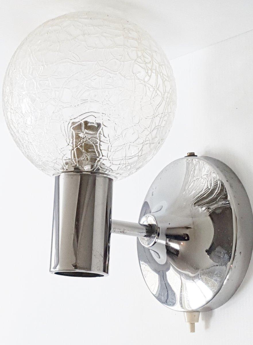 Verchromte Space Age Wandlampe aus Glas, 1970er