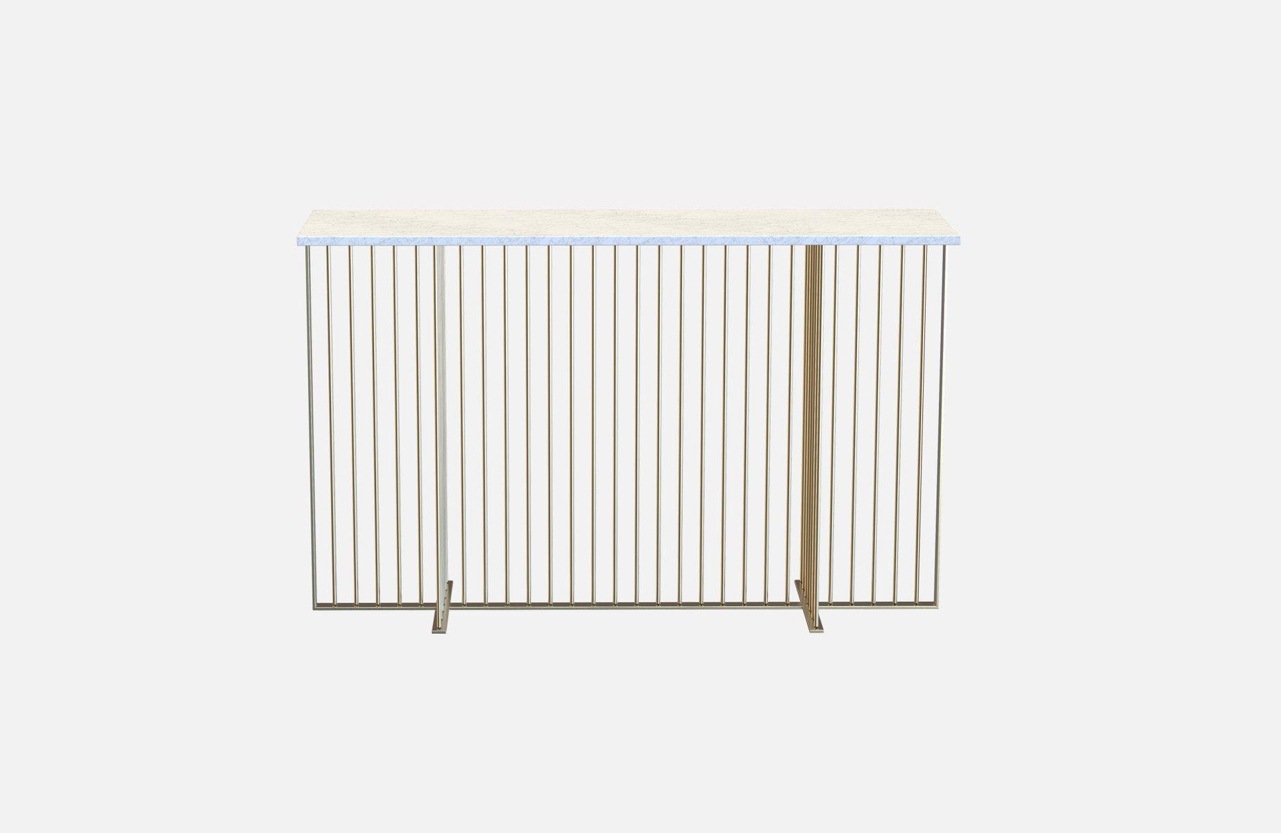 vermessingter meister konsolentisch mit wei er tischplatte aus marmor von alex baser f r miist. Black Bedroom Furniture Sets. Home Design Ideas