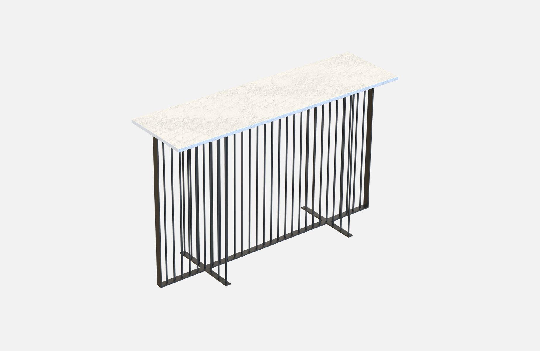 schwarzer meister konsolentisch mit wei er tischplatte aus marmor von alex baser f r miist bei. Black Bedroom Furniture Sets. Home Design Ideas