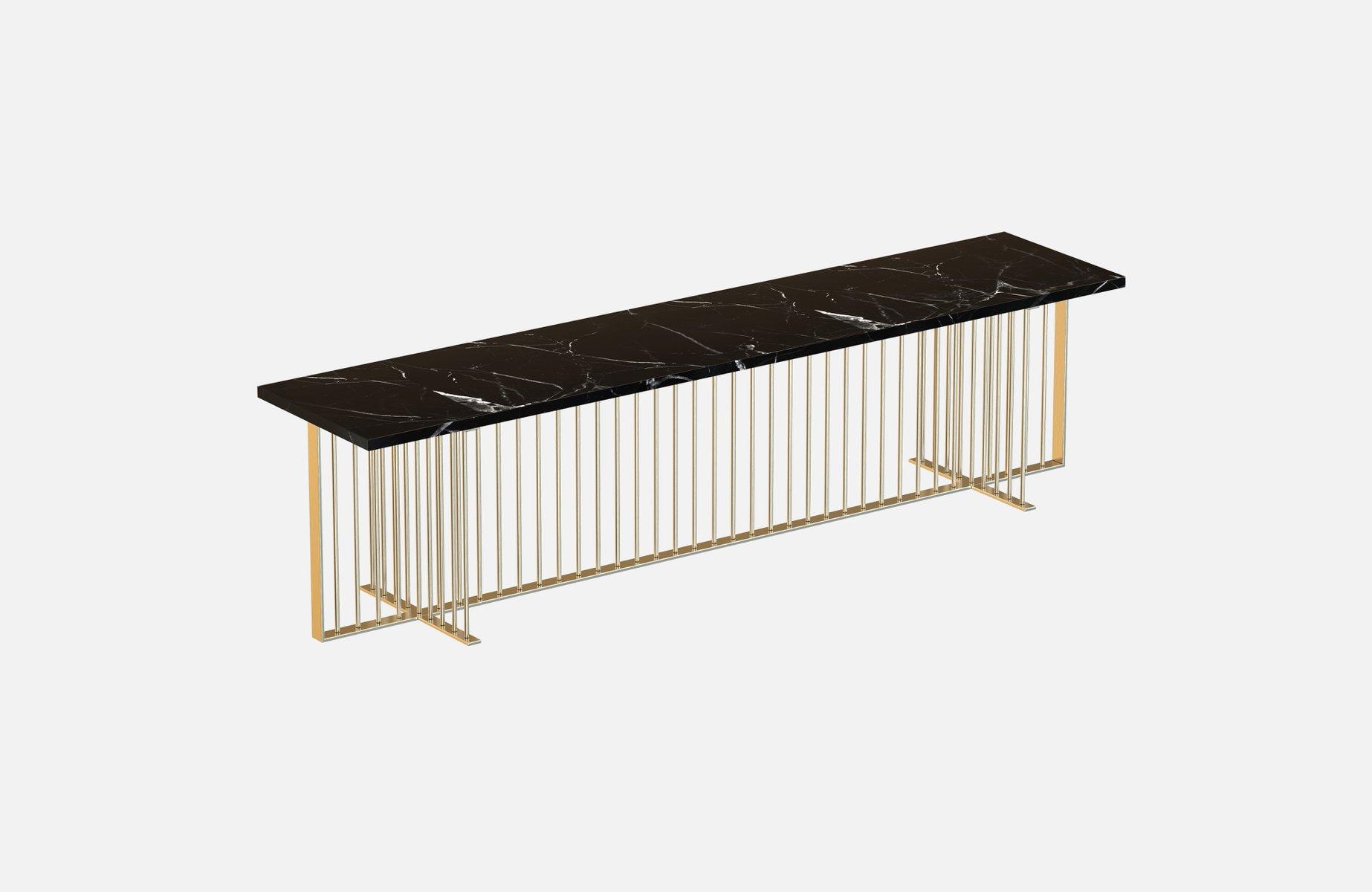 vermessingte meister medienkonsole mit schwarzer tischplatte aus marmor von alex baser f r miist. Black Bedroom Furniture Sets. Home Design Ideas