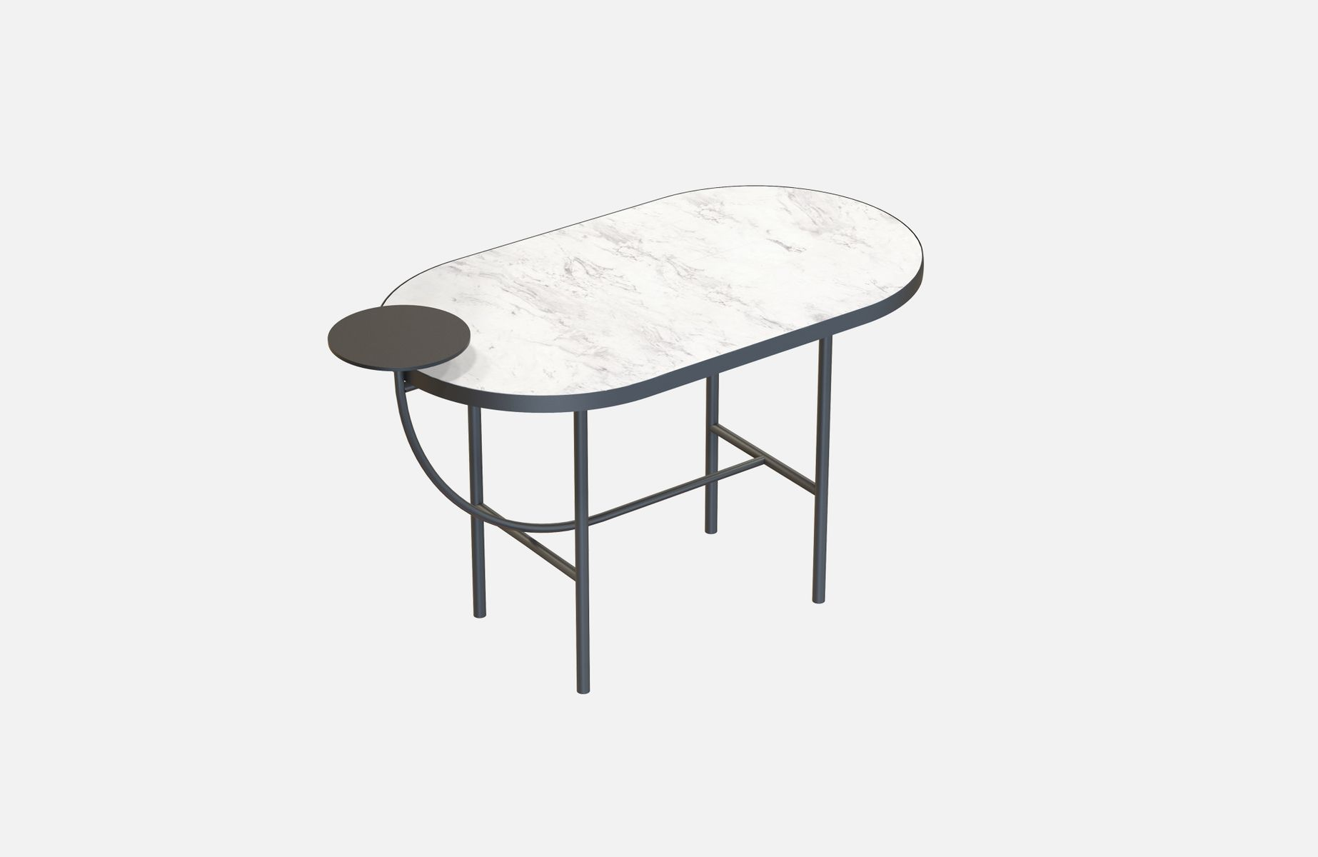 Schwarzer EVA Couchtisch mit weißer Tischplatte aus Marmor von Alex Ba...
