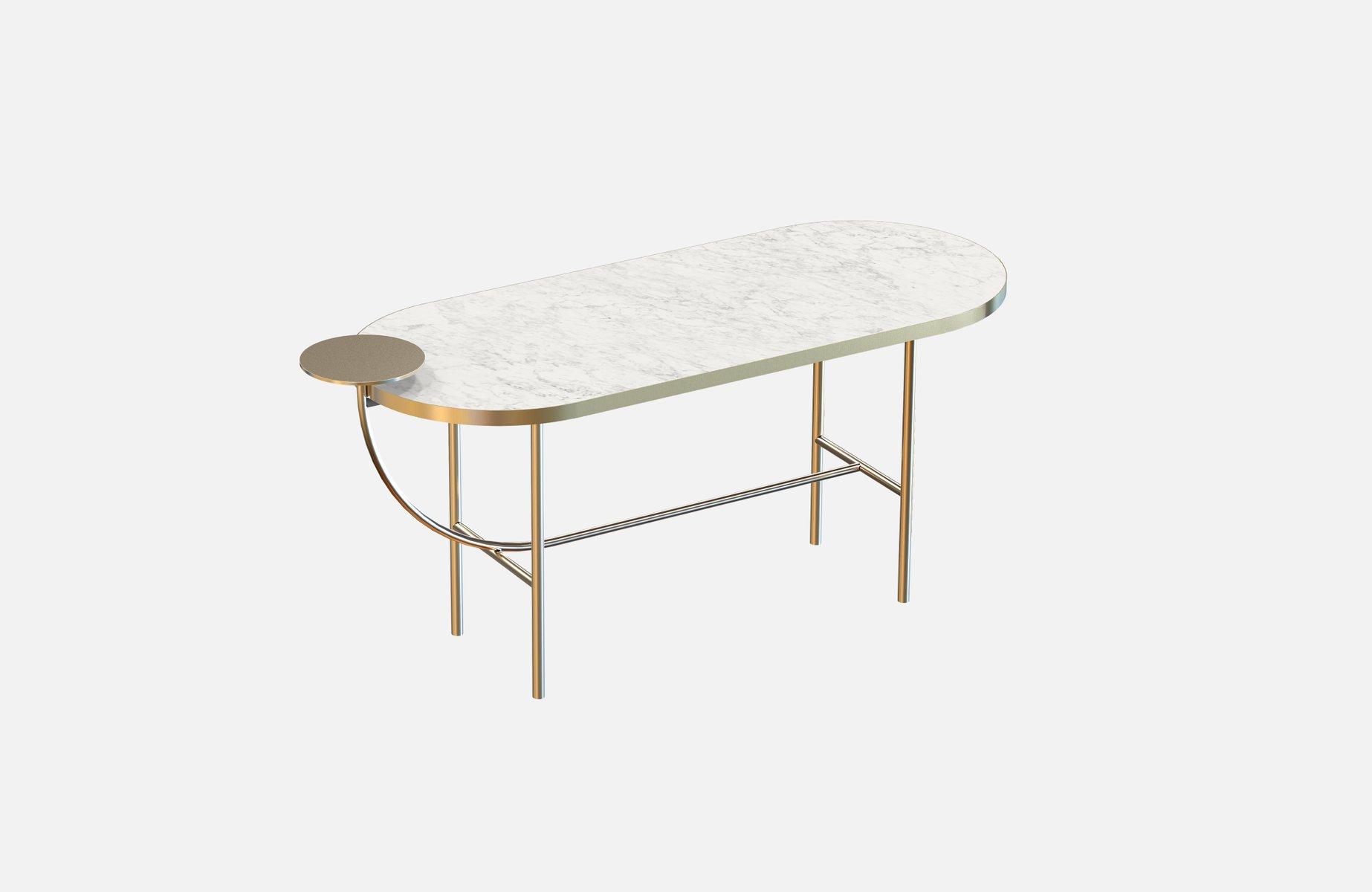 Großer vermessingter EVA Couchtisch mit weißer Tischplatte aus Marmor ...