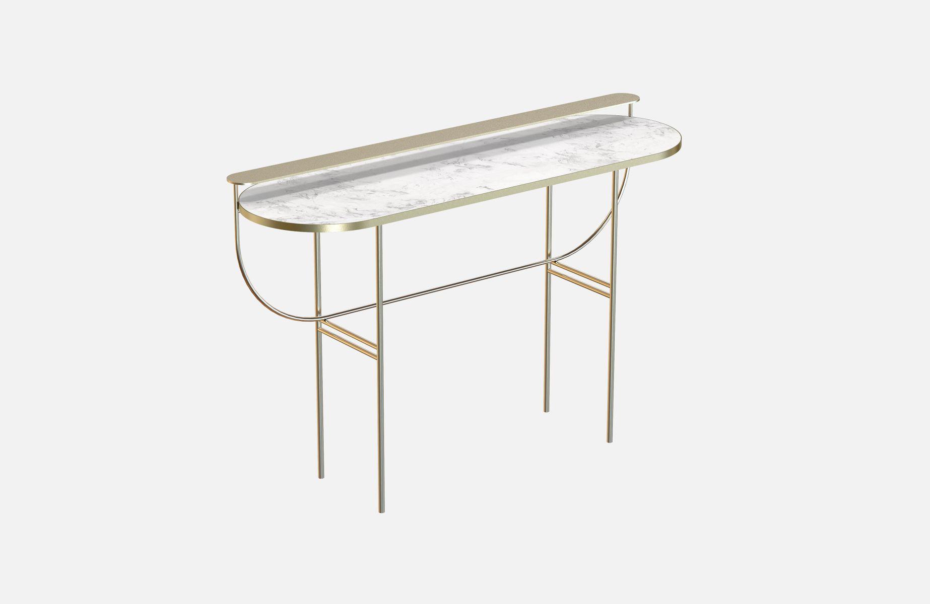 Vermessingter EVA Frisiertisch mit weißer Tischplatte aus Marmor von A...