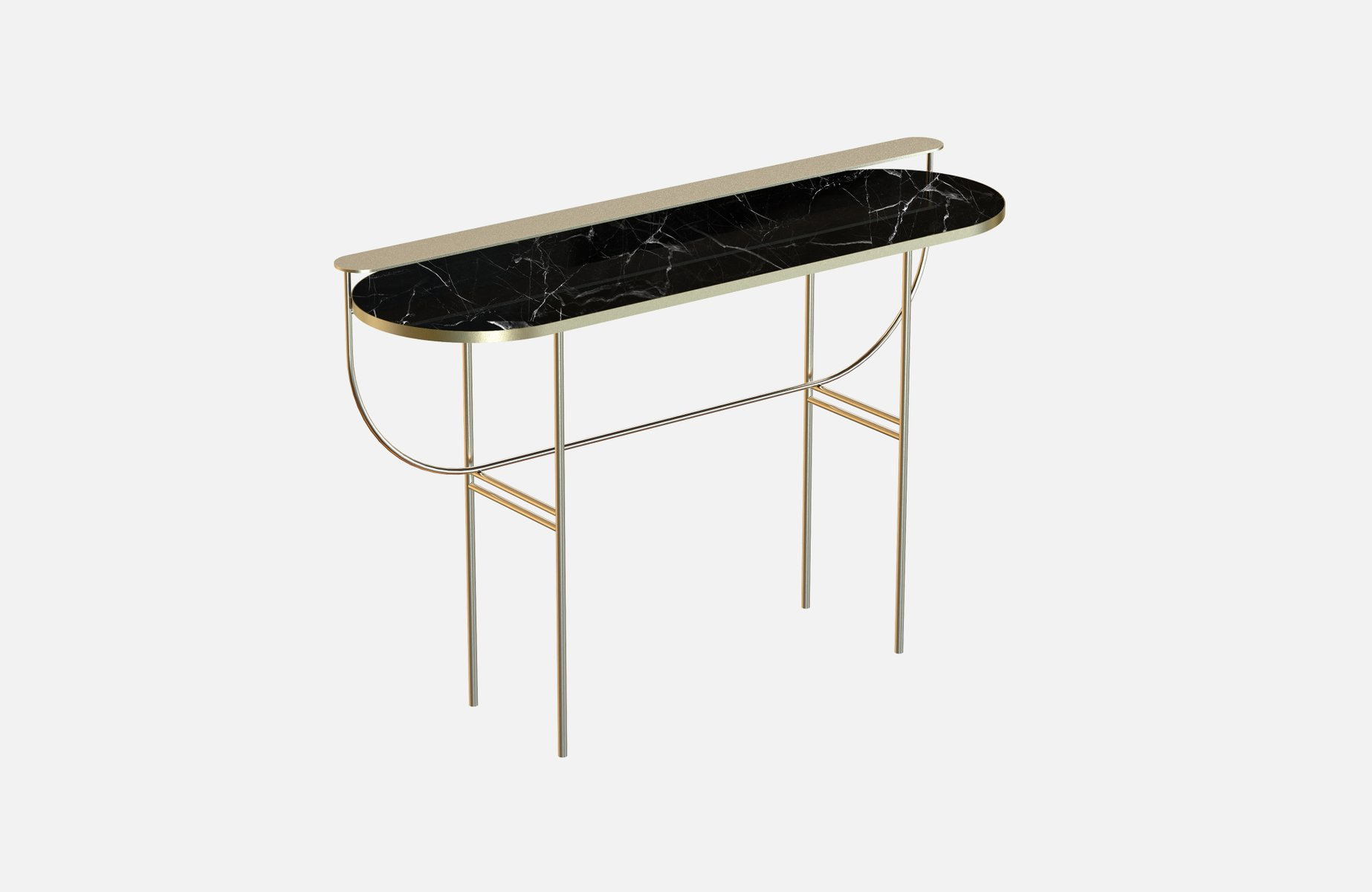 EVA Brass-Plated Vanity Table with Black Marble Top by Alex Baser for ...