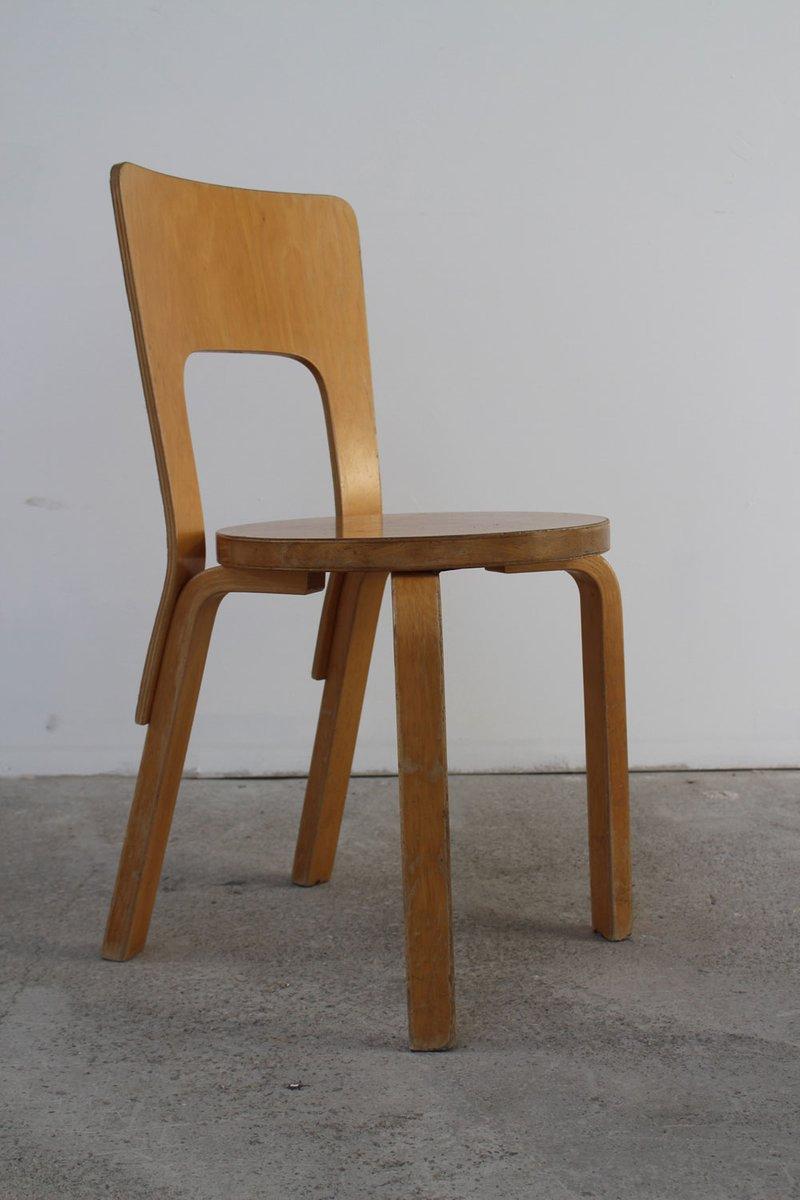Chaise Modle 66 Vintage Par Alvar Aalto Pour Artek 1960s En Vente