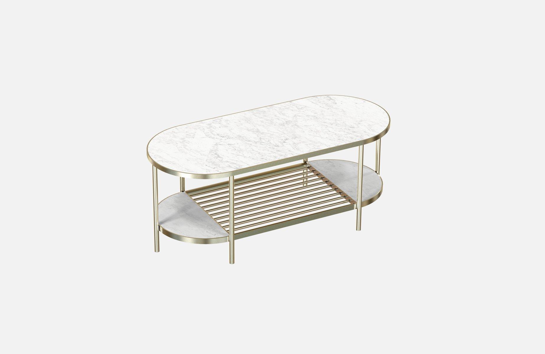 Vermessingter TOUCHÉ Couchtisch mit weißer Tischplatte aus Marmor von ...