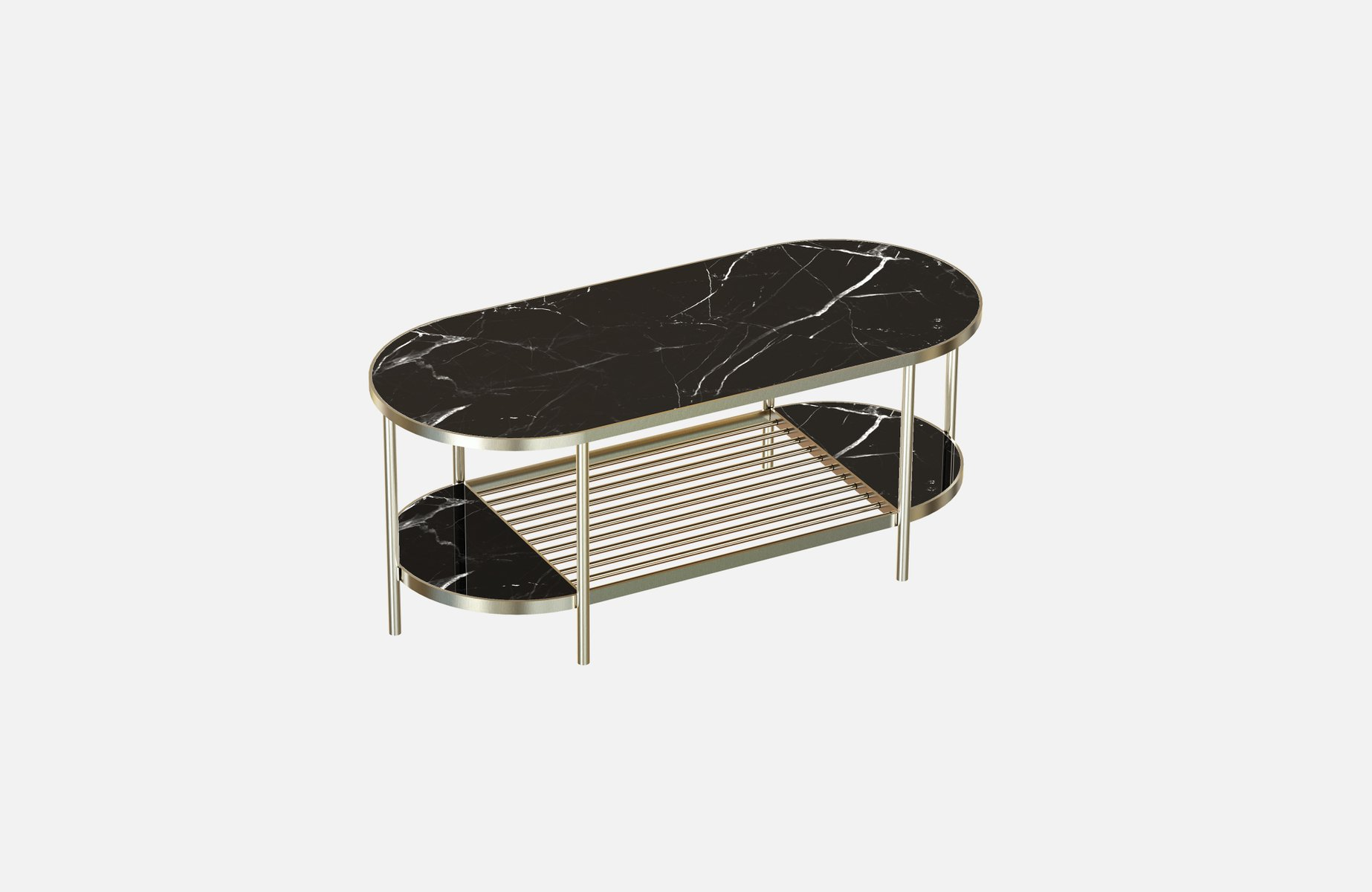 TOUCHÉ Brass-Plated Coffee Table with Black Marble Top by Alex Baser f...