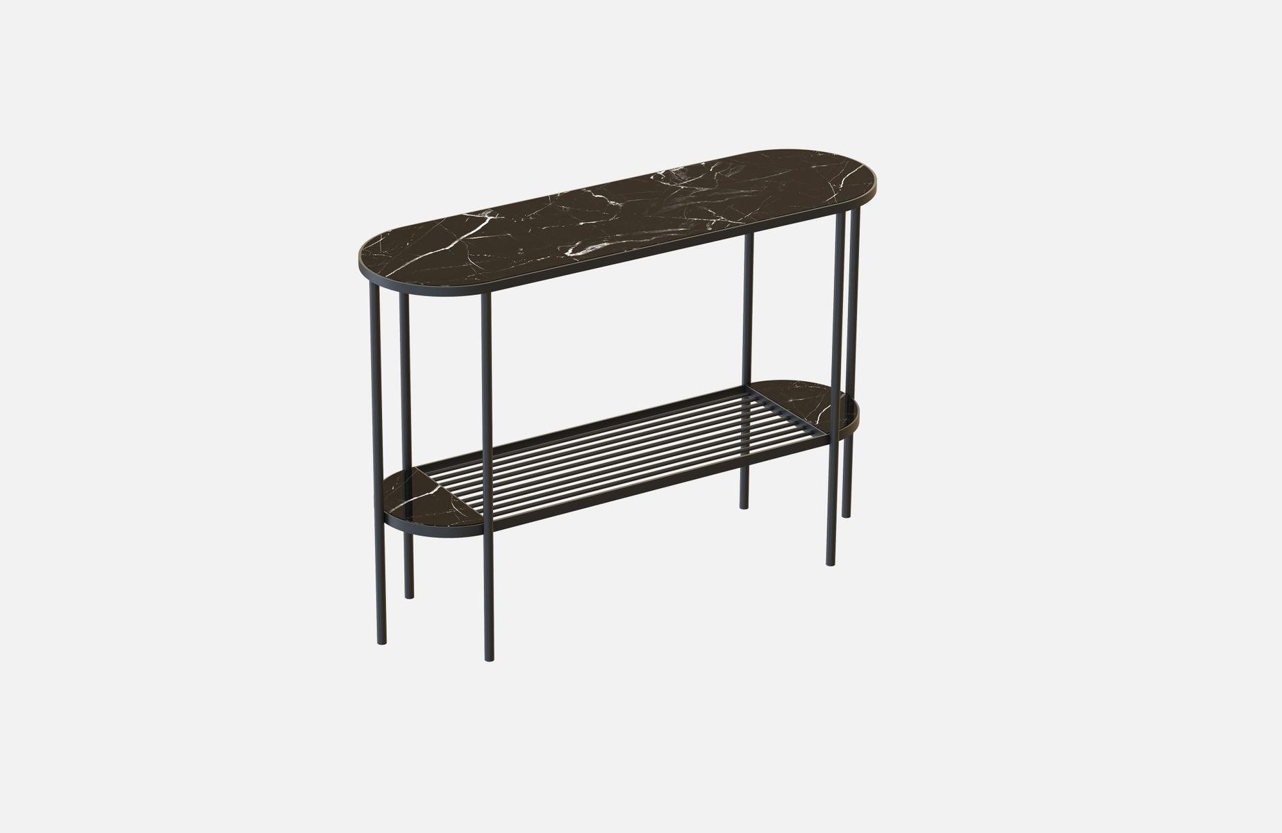 schwarzer touch konsolentisch mit schwarzer tischplatte aus marmor von alex baser f r miist bei. Black Bedroom Furniture Sets. Home Design Ideas