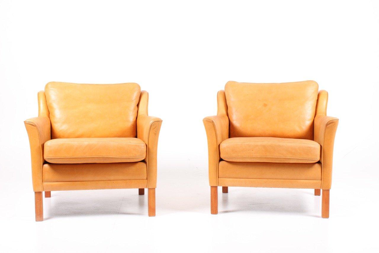 Dänische Vintage Sessel aus patiniertem Leder von Mogens Hansen, 2er S...