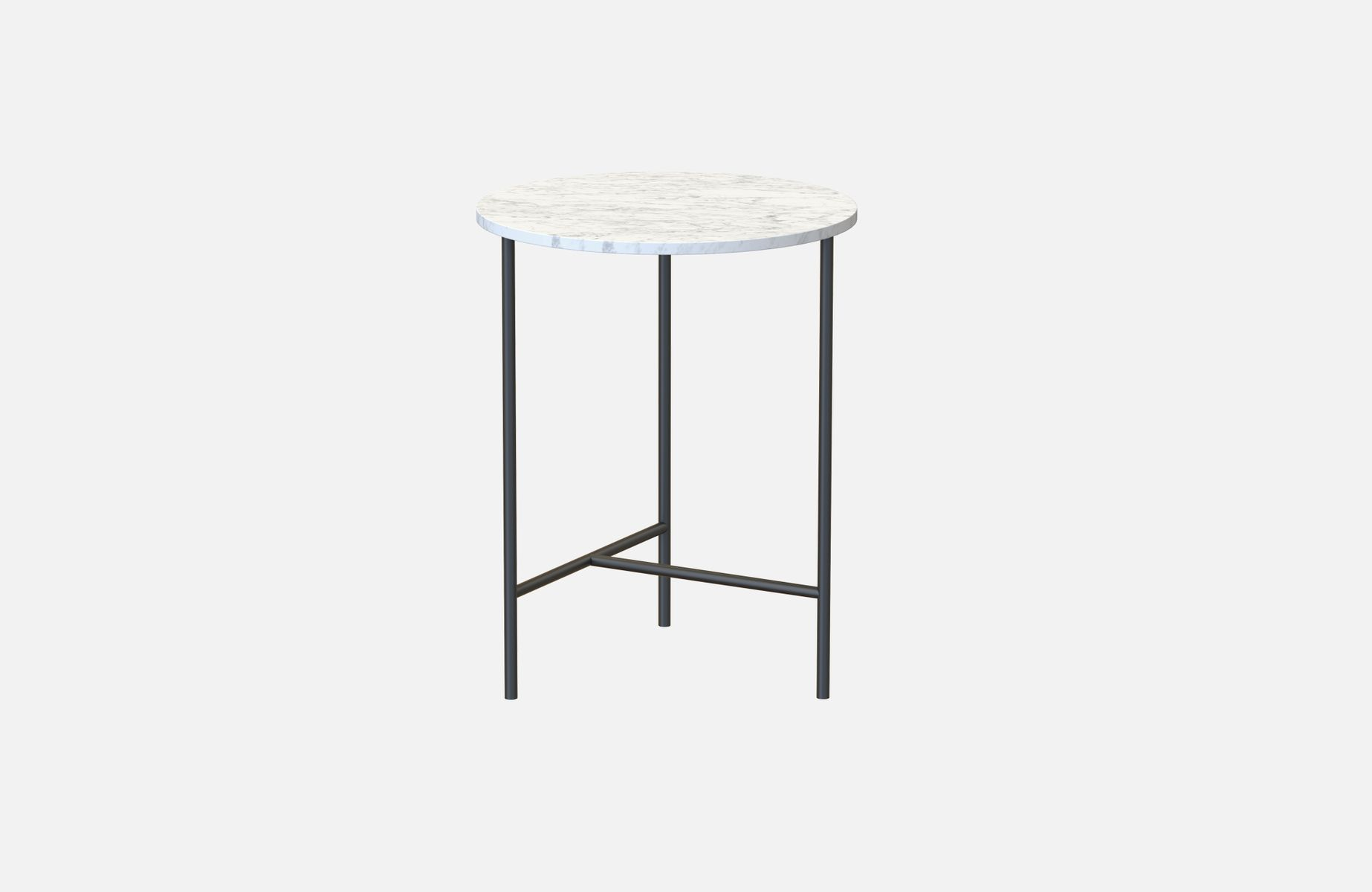 schwarzer midt beistelltisch mit wei er tischplatte aus marmor von alex baser f r miist bei. Black Bedroom Furniture Sets. Home Design Ideas