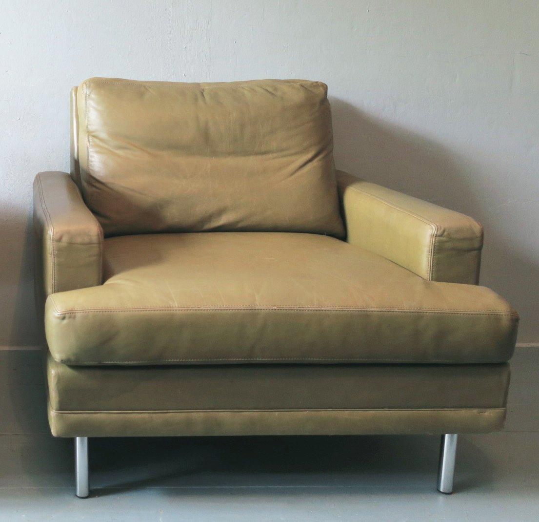 Mid-Century Sessel aus Leder in hellem Pistaziengrün von Dux, 1960er