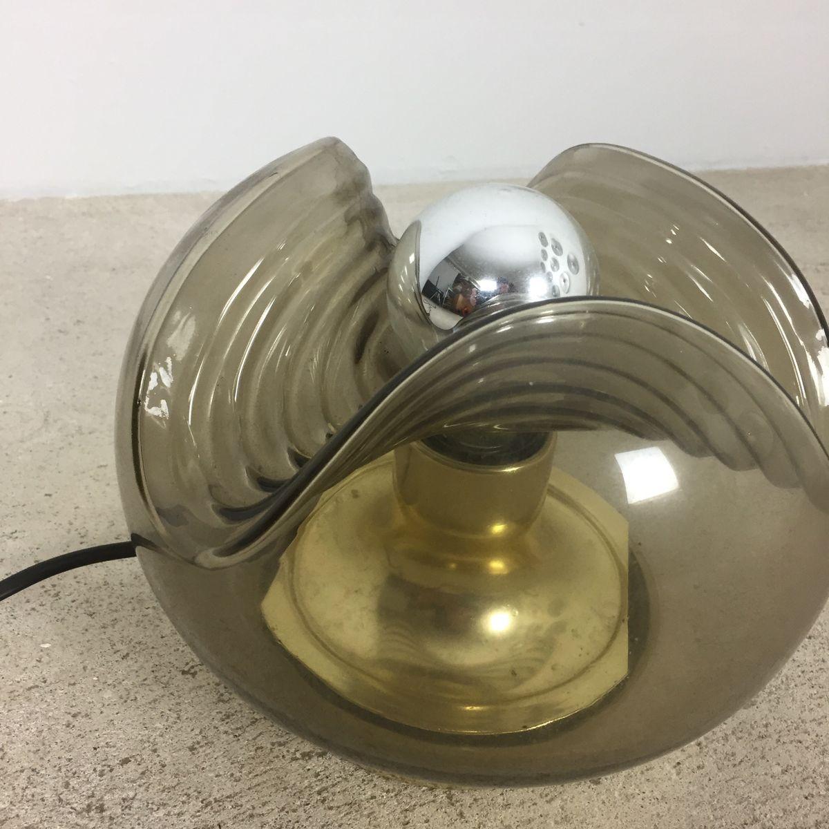 tischlampe aus glas in wellen optik von koch lowy f r peill putzler 1970er bei pamono kaufen. Black Bedroom Furniture Sets. Home Design Ideas