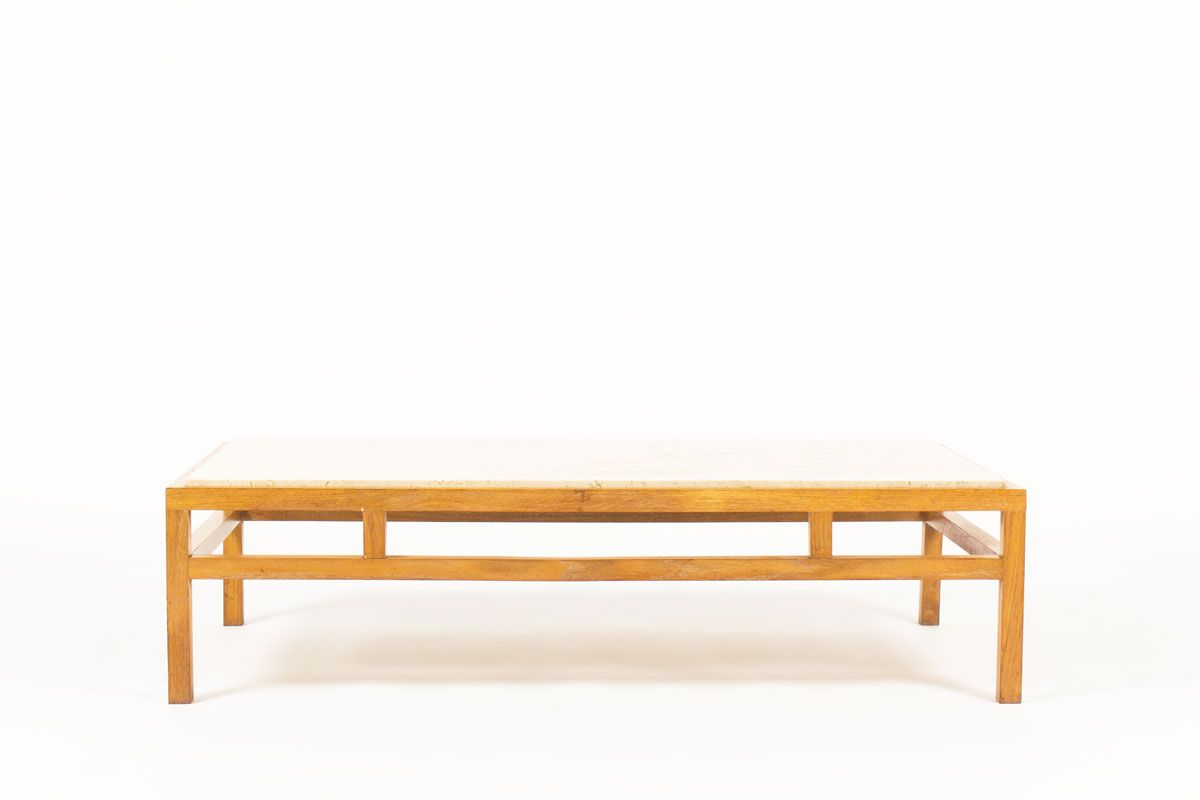 Coffee Table in Oak and Travertine, 1950s