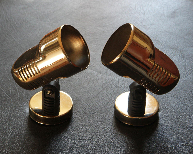 Goldene Wandlampen von Fase, 1980er, 2er Set
