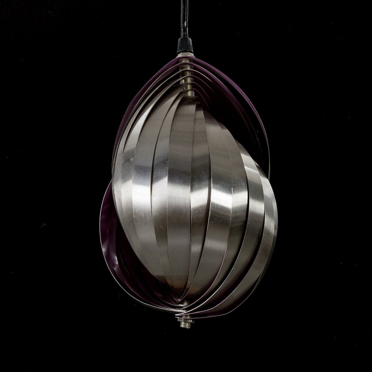 Vintage Hängelampe in Muschel-Optik von Henri Mathieu