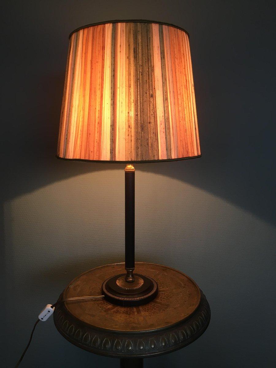 Vintage Tischlampe aus Messing & Leder