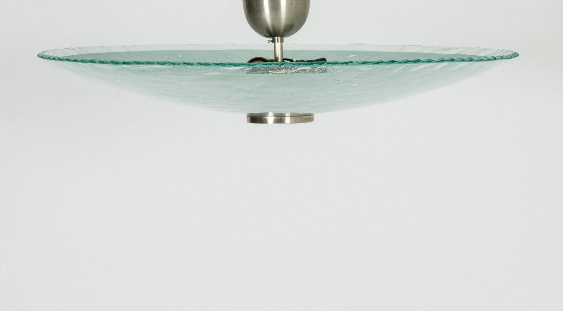 Schwedische Einbaulampe aus Glas, 1930er