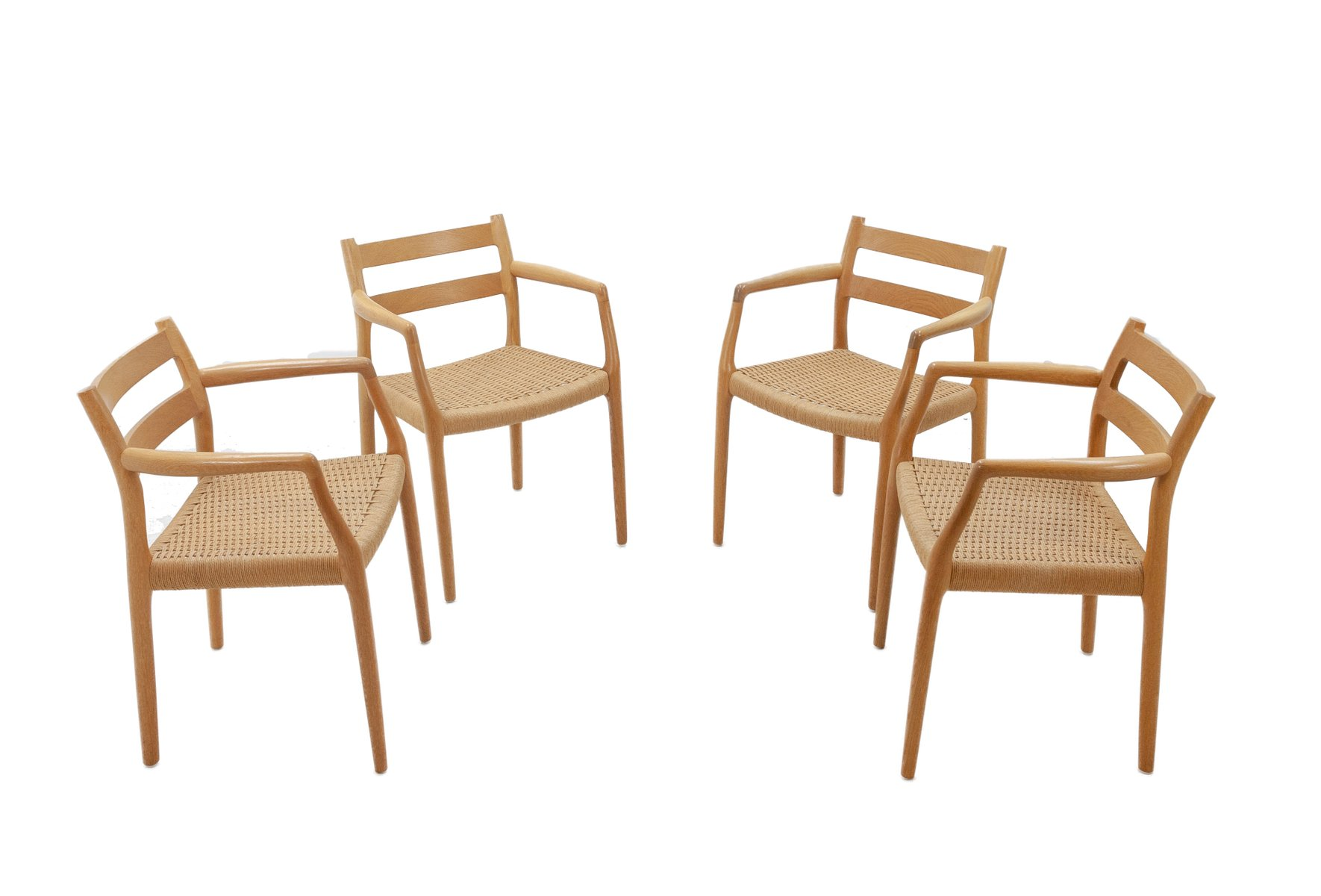 nr 67 st hle aus eiche von niels otto moller und heinrich m ller 1970er 4er set bei pamono kaufen. Black Bedroom Furniture Sets. Home Design Ideas