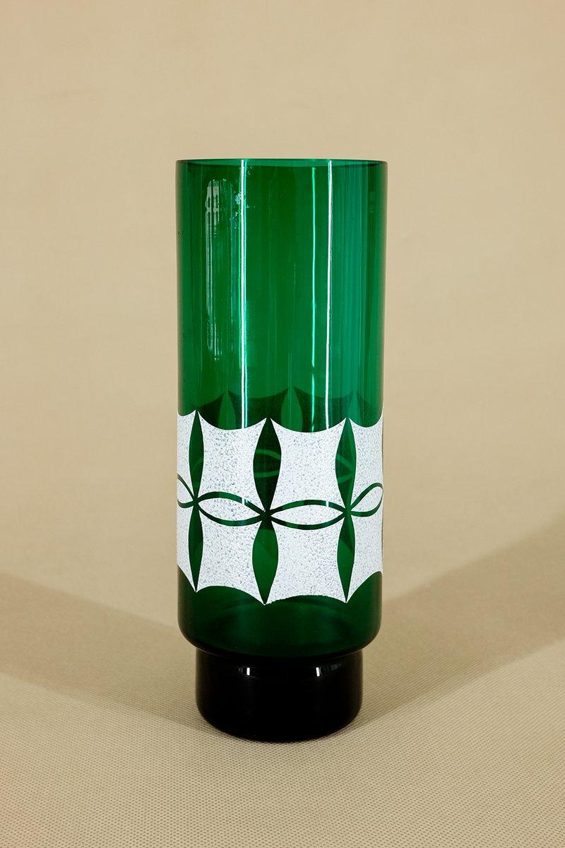 vase en cristal vert de veb kunst glas wasungen, 1960s en vente sur
