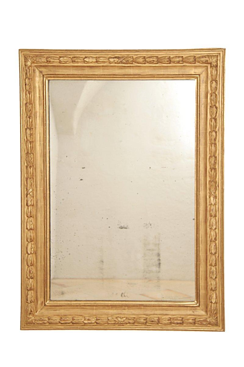 gro er louis xvi spiegel mit rahmen aus vergoldetem blattfries 1790er bei pamono kaufen. Black Bedroom Furniture Sets. Home Design Ideas