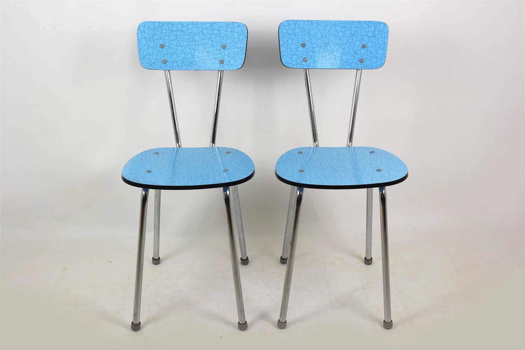 Sedie da cucina in formica blu, anni \'70, set di 2 in vendita su Pamono